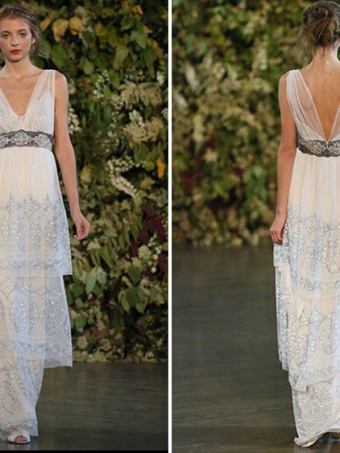 Claire Pettibone 'Trinity' size 8 used wedding dress front/back views on model