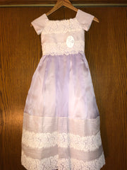 Exuisite Brides 'Lavender and Ivory Intricately Pleated Long Flower Girl Dress' size 8 child's flower girl dress front view on hanger