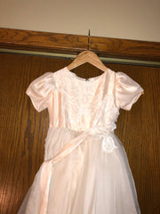 Exquisite Brides 'Dusty Pink and Ivory Layered Lace Appliquéd Flower Girl Dress-112' front view on hanger