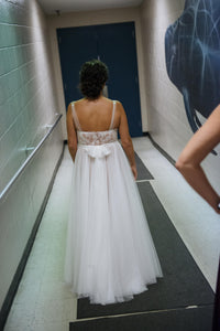 Watters 'Penelope' size 6 used wedding dress back view on bride