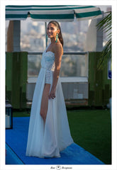 Inbal Dror 'Sparkly' size 0 used wedding dress side view on bride