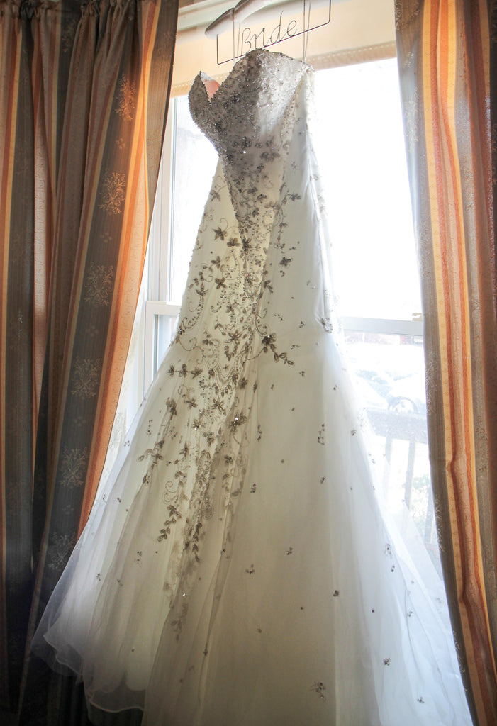 Mori Lee '2790' size 8 used wedding dress front view on hanger