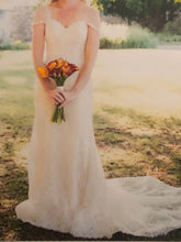 Load image into Gallery viewer, Essense of Australia 'Romantic Vintage Lace' size 8 used wedding dress front view on bride
