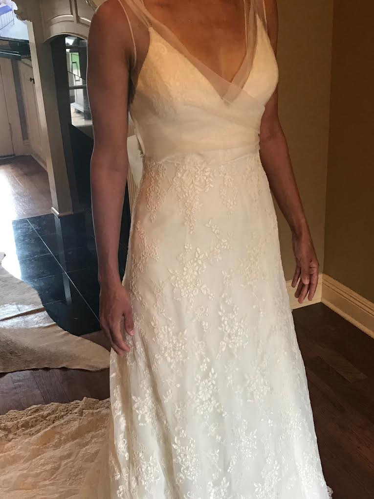 Alyne 'Jasmine' size 4 used wedding dress front view on bride