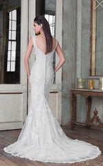 Justin Alexander 'Jazbride' size 18 used wedding dress back view on model