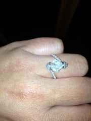 Custom '2 Carat Raw Diamond Engagement Ring' front view on hand