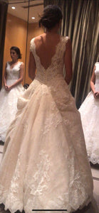 Pronovias 'Devany' size 6 used wedding dress back view on bride