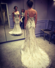 Load image into Gallery viewer, Maggie Sottero 'Greer' size 2 used wedding dress back/front views on bride