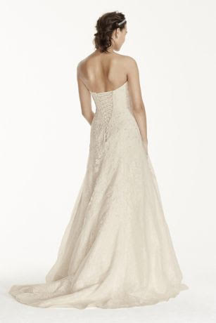 David's Bridal 'Jewel WG3755' size 00 used wedding dress back view on model