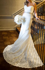 Dennis Basso '1174' size 6 used wedding dress front view on bride