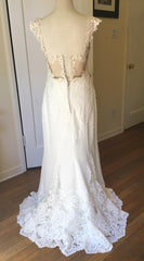 Essence of Australia 'Lace Cap Sleeve' size 8 new wedding dress back view on mannequin