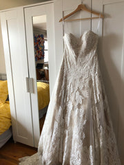 Watters 'Lyric 3012B' size 12 used wedding dress front view on hanger