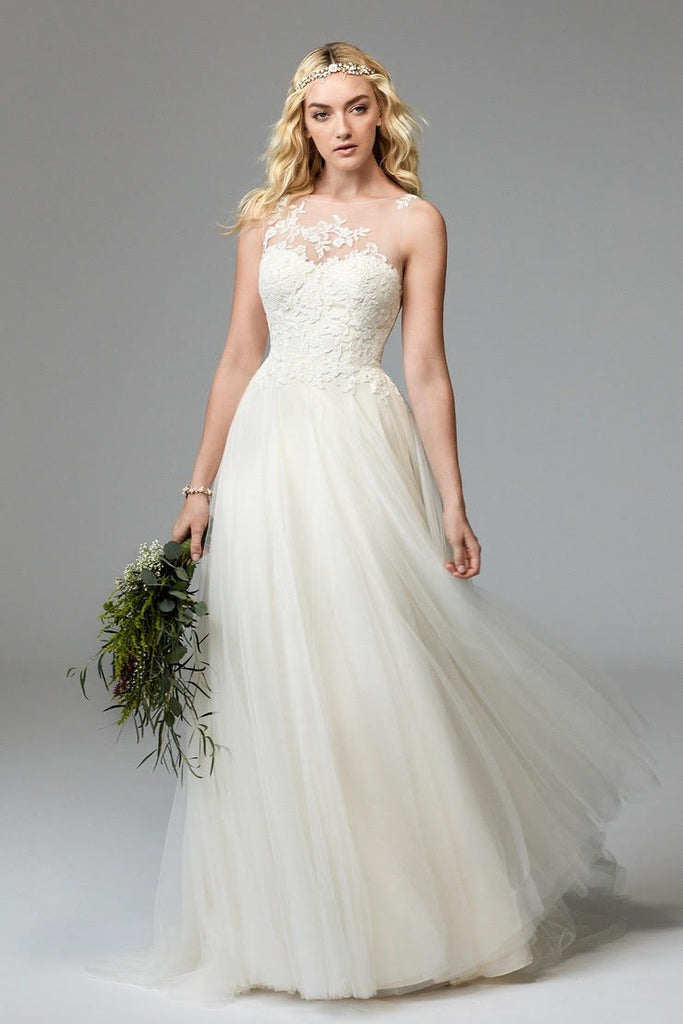 Watters 'Willowby' size 2 new wedding dress front view on model