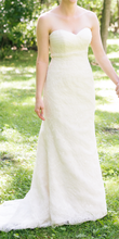 Load image into Gallery viewer, Paloma Blanca 'Strapless Ivory' size 4 used wedding dress front view on bride