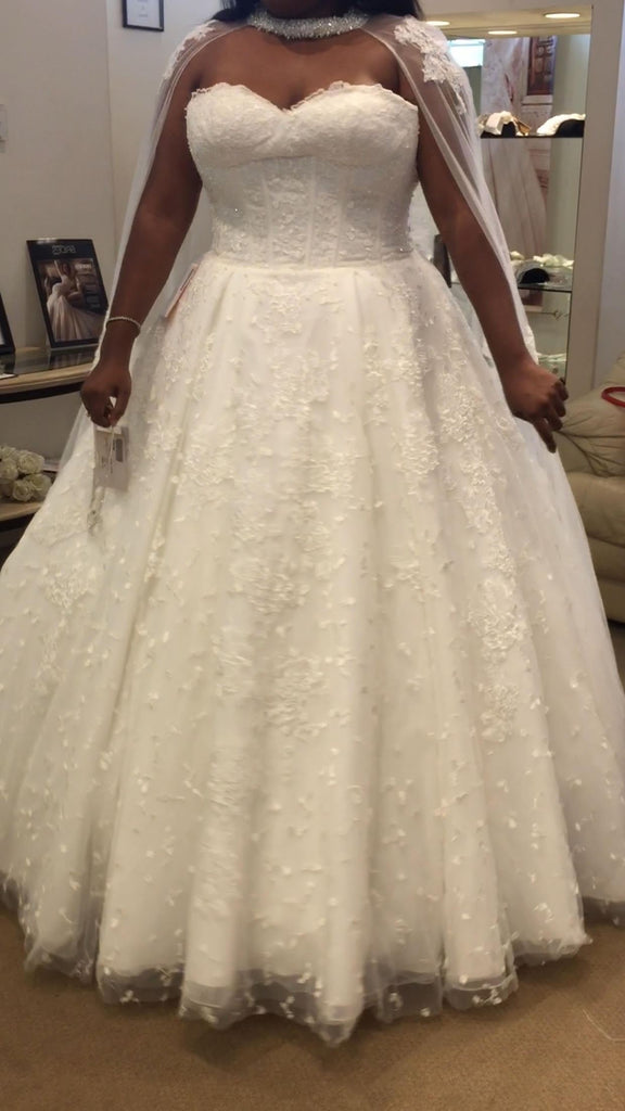 Demetrios '588' size 14 used wedding dress front view on bride