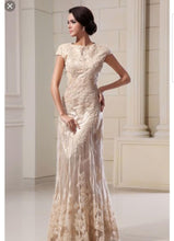 Load image into Gallery viewer, Custom 'Column Lace' size 16 new wedding dress front view on model