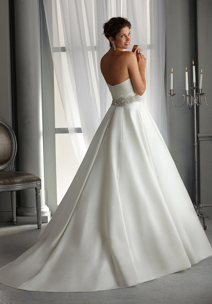 Mori Lee '5266' size 16 sample wedding dress back view on model
