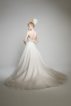 Load image into Gallery viewer, Matthew Christopher 'Abigail' size 12 used wedding dress back view on model