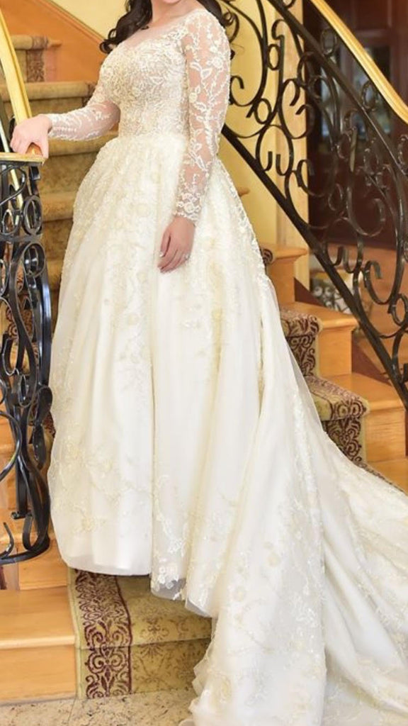 Maria Farabinni 'Isabella' size 4 used wedding dress front view on bride