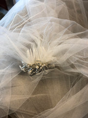 David's Bridal 'Tulle Over Satin' size 8 used wedding dress view of veil