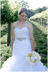Allure 'W353' size 6 used wedding dress front view on bride