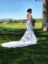 Load image into Gallery viewer, Mikaella 'Halter 2150' size 6 used wedding dress side view on bride