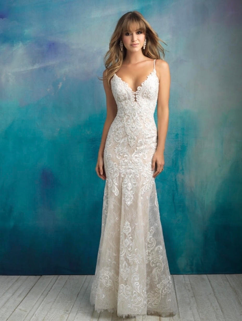 Allure Bridals '9501' size 8 sample wedding dress front view on model