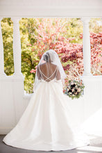 Load image into Gallery viewer, Camille's Of Wilmington 'CWS18-105' size 14 used wedding dress back view on bride