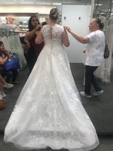 Load image into Gallery viewer, Oleg Cassini 'Lace Ball Gown' size 18 used wedding dress back view on bride