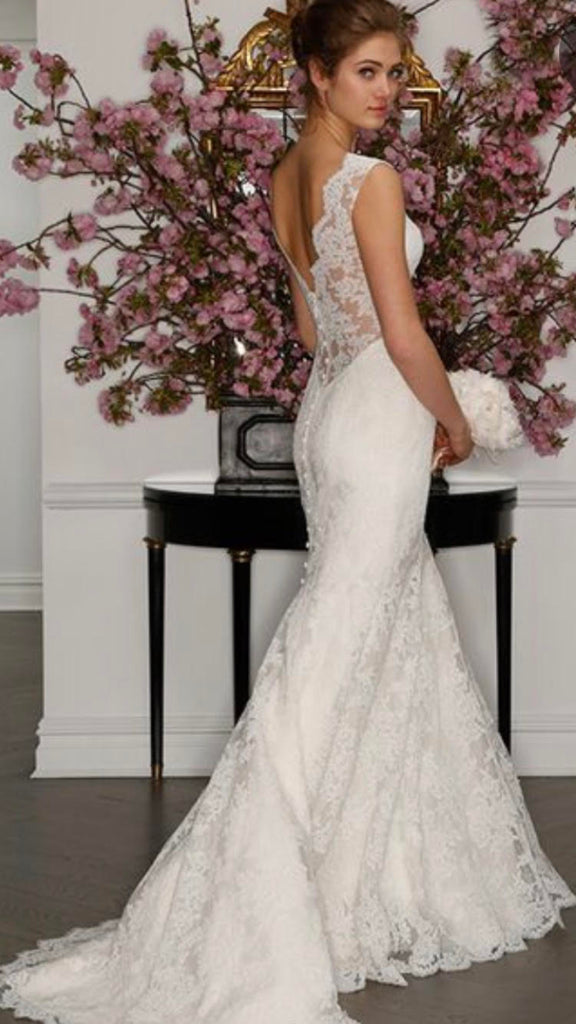 Romona Keveza 'Legends' size 4 used wedding dress back view on model