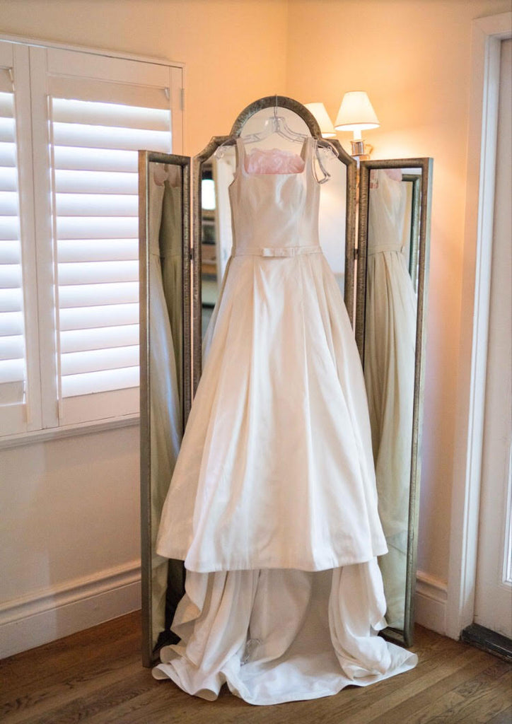 Madison James 'MJ05' size 8 used wedding dress front view on hanger