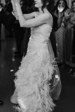 Load image into Gallery viewer, Marchesa 'Ostrich Feathered' size 4 used wedding dress side view on bride
