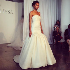 Marchesa 'Strapless Mermaid' size 2 used wedding dress front view on model