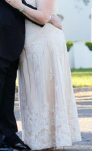 Load image into Gallery viewer, Custom 'Column Lace' size 16 new wedding dress side view on bride