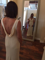 Badgley Mischka 'Livia' size 2 sample wedding dress back view on bride