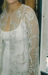 Reem Acra '9019' size 8 used wedding dress front view on bride