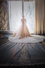 Load image into Gallery viewer, Mohammad Murad 'Royal Ball Gown' size 14 used wedding dress back view on bride