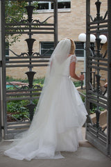 Reem Acra'Lily' size 0 used wedding dress back view on bride