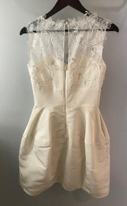 Oscar De La Renta 'Catherine Embroidered Silk Faille' size 4 used wedding dress back view on hanger