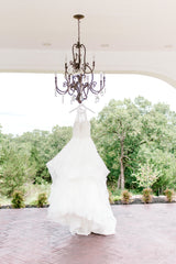 Mori Lee 'Kali' size 6 used wedding dress front view on hanger