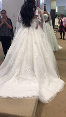 Demetrios '588' size 14 used wedding dress back view on bride