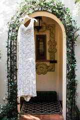 Ulla Maija 'Beaded' size 4 used wedding dress front view on hanger