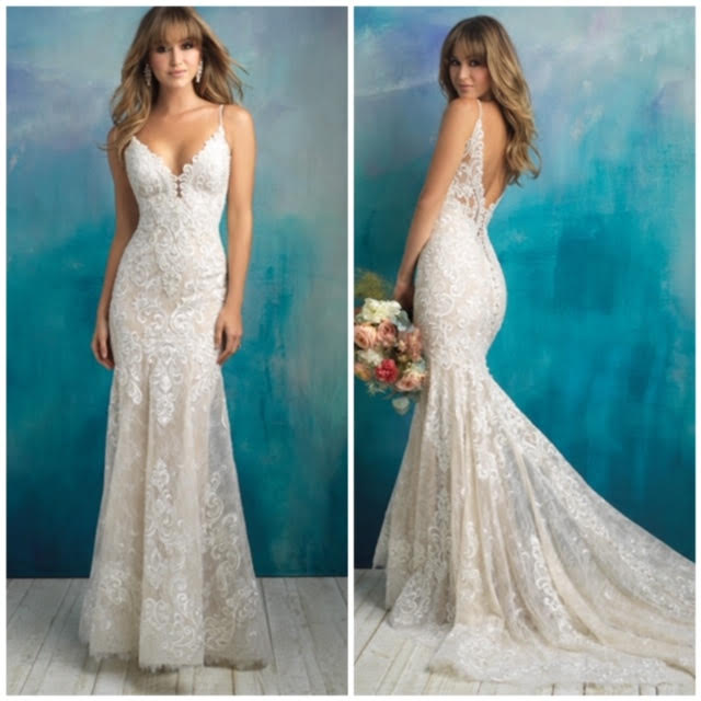 Allure Bridals '9501' size 8 sample wedding dress front/back views on model