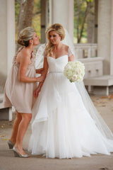 Reem Acra'Lily' size 0 used wedding dress front view on bride