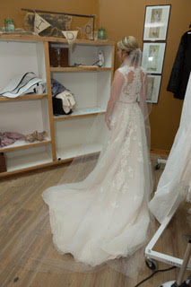 Stella York ''6391' size 4 used wedding dress back view on bride