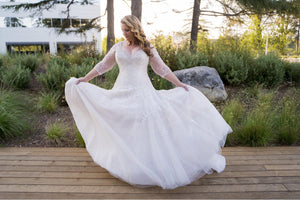 Sophia Tolli 'Y11637' size 16 used wedding dress front view on bride