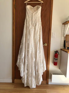 Maggie Sottero 'Viera' size 10 used wedding dress back view on hanger