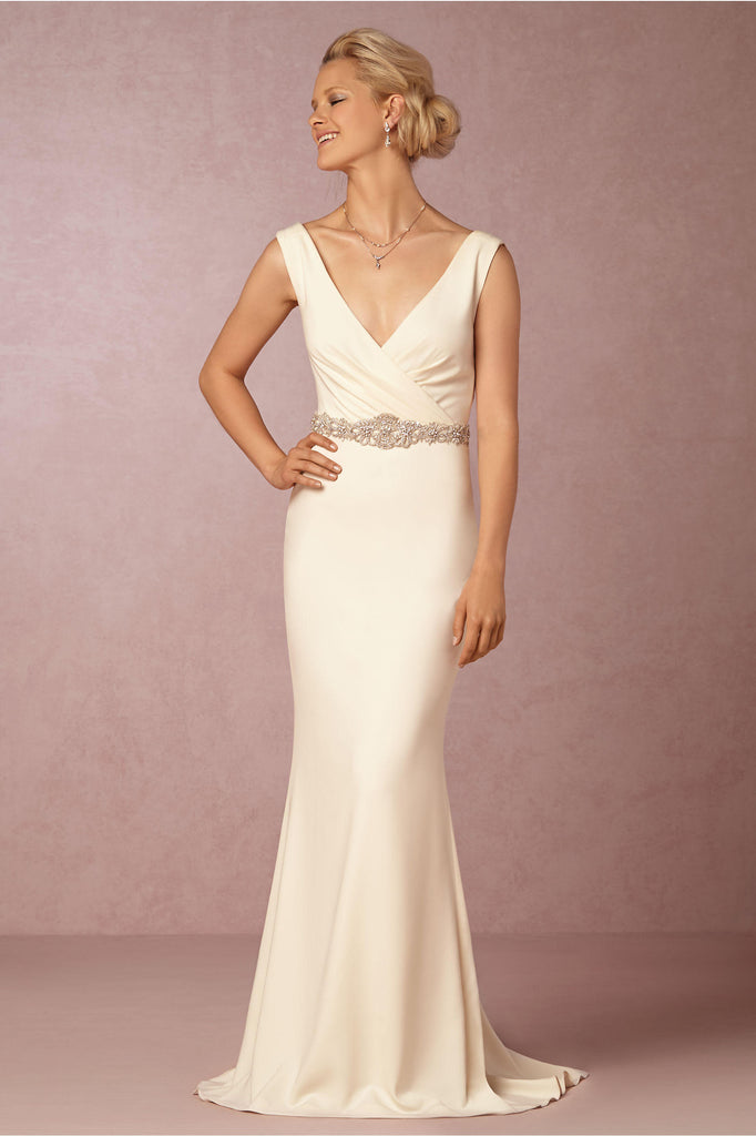 Badgley Mischka 'Livia' size 2 sample wedding dress front view on model