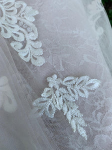 Essence Of Australia 'Moscato 6257' size 6 used wedding dress close up of fabric