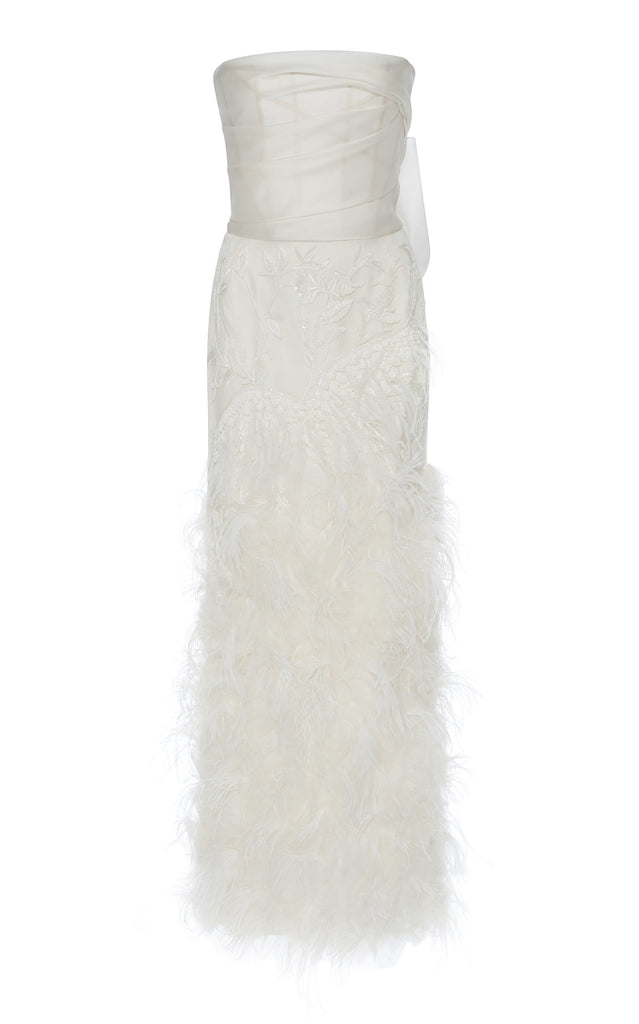 Marchesa 'Ostrich Feathered' size 4 used wedding dress front view on hanger